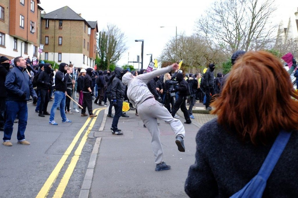 'Anti-fascists throw rocks in Dover, 30th January 2016