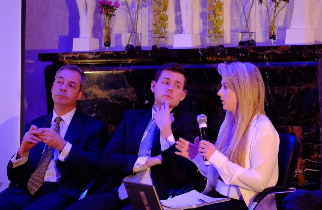 Left to right: Nigel Farage, Professor Matthew Goodwin and Isabel Oakshott (Rachel Megawhatt/Breitbart London)