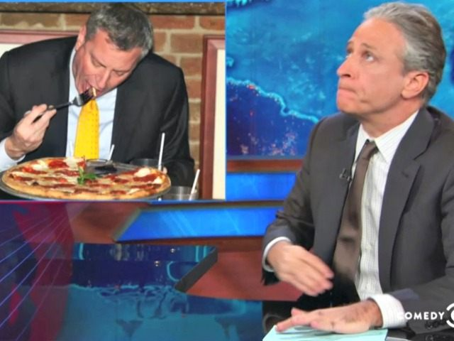 DeBlasio Eats Pizza with a Fork Comedy Central