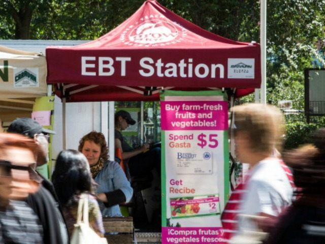 Electronic Benefits Transfer (EBT) station, more commonly known as Food Stamps, in the GrowNYC Greenmarket in Union Square on September 18, 2013 in New York City.