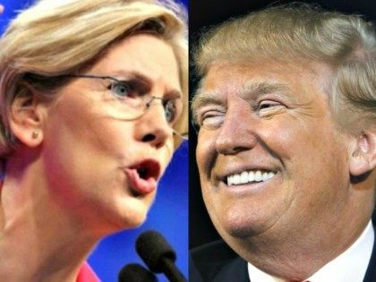 Elizabeth Warren and Donald Trump AP