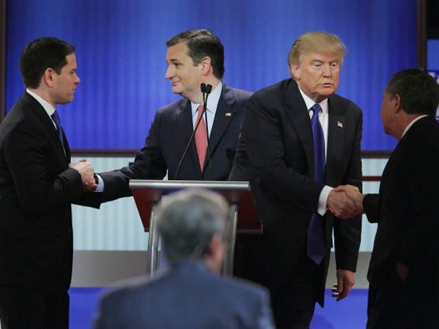 Republican presidential candidates (Lto R) Sen. Marco Rubio (R-FL), Sen. Ted Cruz (R-TX), Donald Trump and Ohio Gov. John Kasich on March 3, 2016 in Detroit, Michigan.