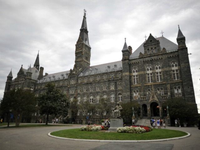 Healy Hall, the flagship building of Georgetown University's main campus in Washington, DC, is seen on September 30, 2011. Healy Hall building is listed as a national historic landmark .