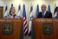 JERUSALEM, ISRAEL - NOVEMBER 20: Israel's Prime Minister Benjamin Netanyahu (R) and U.S. Secretary of State Hillary Clinton deliver joint statements November 20, 2012 in Jerusalem, Israel. The United States signaled today that a Gaza truce could take days to achieve after Hamas, the Palestinian enclave's ruling Islamist militants, backed …