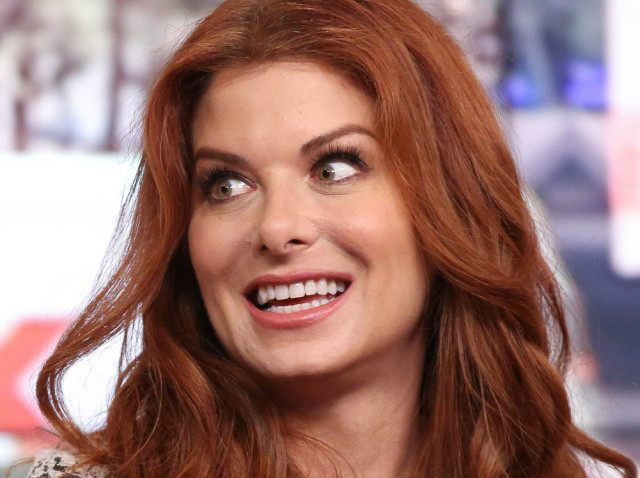 """NEW YORK, NY - OCTOBER 14: Debra Messing visits """"FOX & Friends"""" at FOX Studios on October 14, 2014 in New York City. (Photo by Rob Kim/Getty Images)"""