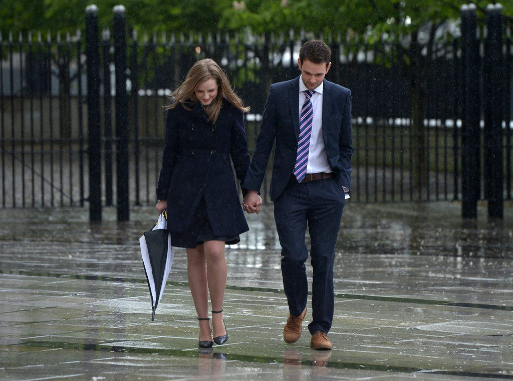 BELFAST, NORTHERN IRELAND - MAY 19: Daniel McArthur (R) alongside his wife Amy McArthur (R) leave Laganside Courts after a judge ruled that their Christian-run bakery discriminated against Gareth Lee, a gay rights activist, by refusing to make a cake with a slogan supporting same-sex marriage on May 19, 2015 in Belfast, Northern Ireland. Mr Lee had claimed that Ashers bakery discriminated against him on the grounds of his sexual orientation. A Belfast judge said, as a business, Ashers was not exempt from discrimination law. Damages of £500 were agreed in advance by both legal teams. Ashers Baking Company, which delivers across the UK and Northern Ireland, had argued that the cake and its slogan 'Support Gay Marriage' went against their 'sincerely held' Christian beliefs. Mr. Lee was assisted with his case by the Equality Commission. (Photo by Charles McQuillan/Getty Images)