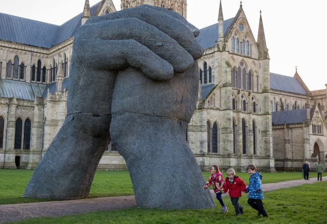 The Kiss Sculpture Is Installed At Salisbury Cathedral