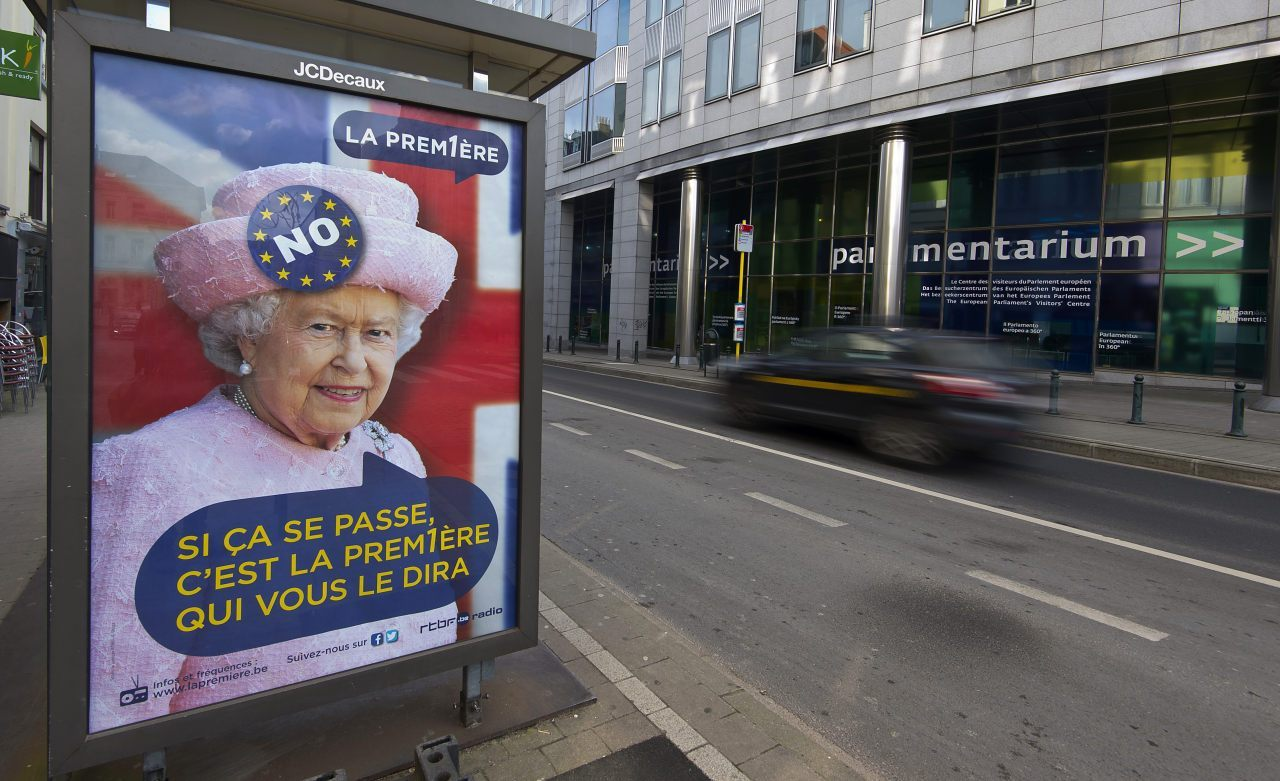"A poster in Brussels from February, predicting the Queen would say ""No"" to the European Union / Getty Images"