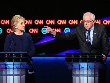 during the CNN Democratic Presidential Primary Debate at the Whiting Auditorium at the Cultural Center Campus on March 6, 2016 in Flint, Michigan. Voters in Michigan will go to the polls March 8 for the state's primary.