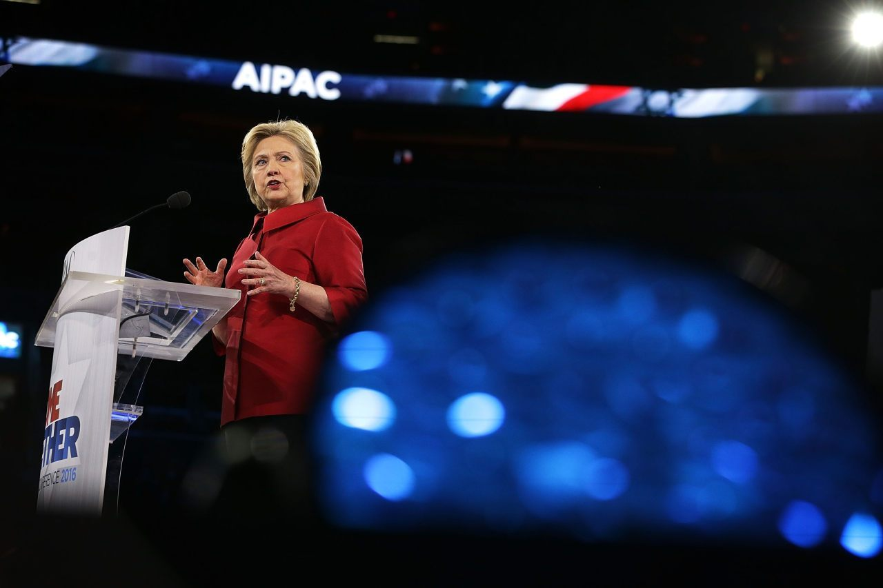 WASHINGTON, DC - MARCH 21: Democratic presidential candidate Hillary Clinton address the annual policy conference of the American Israel Public Affairs Committee (AIPAC) March 21, 2016 in Washington, DC. Presidential candidates from both parties gather in Washington to pitch their plans for Israel. (Photo by Alex Wong/Getty Images)