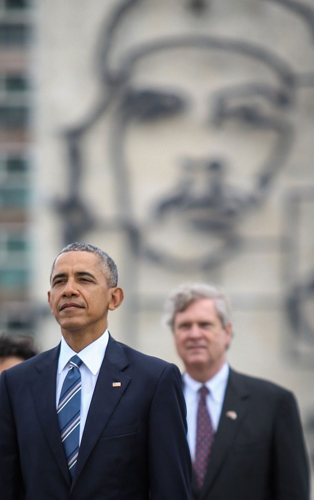 US President Barack Obama attends a wreath-laying ceremony at Jose Marti monument in the Revolution Palace of Havana next to the Vice-President of the Cuban Council Salvador Valdes Mesa (R) on March 21, 2016. US President Barack Obama and his Cuban counterpart Raul Castro met Monday in Havana's Palace of the Revolution for groundbreaking talks on ending the standoff between the two neighbors. AFP PHOTO/ STR / AFP / STR (Photo credit should read STR/AFP/Getty Images)