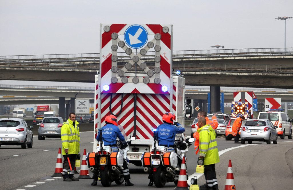 BRUSSELS, BELGIUM - MARCH 22: Highway access to Zaventem Bruxelles International Airport is closed following a series of terrorist attacks on March 22, 2016 in Brussels, Belgium. At least 13 people are though to have been killed after Brussels airport was hit by two explosions whilst a Metro station was also targeted. The attacks come just days after a key suspect in the Paris attacks, Salah Abdeslam, was captured in Brussels. (Photo by Sylvain Lefevre/Getty Images)