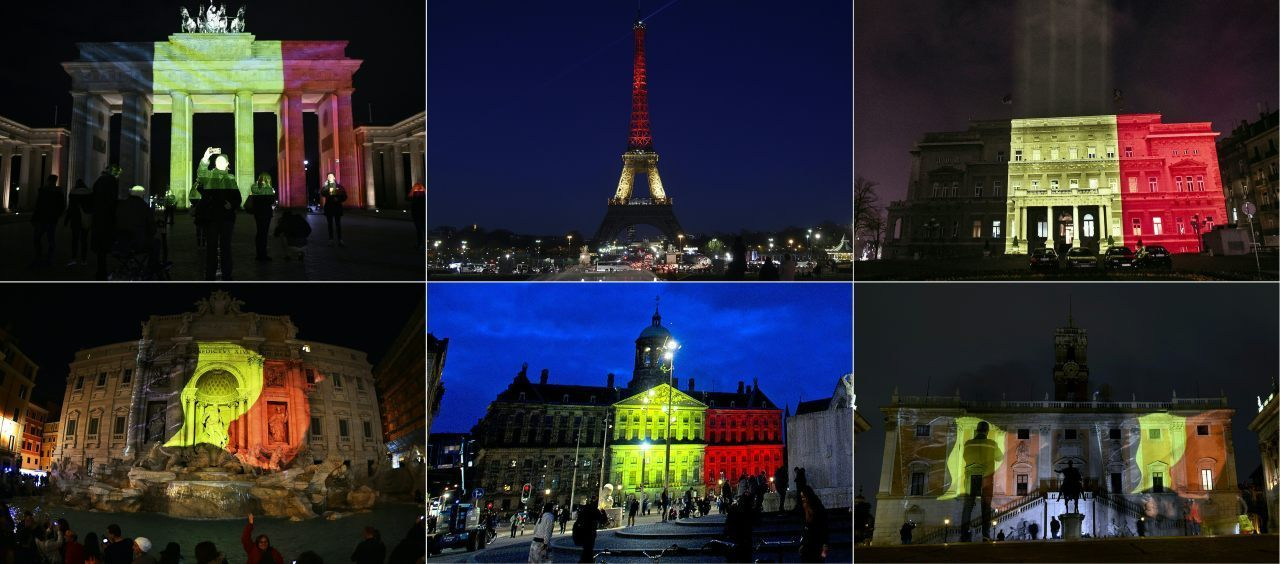European nations have shown solidarity with the Belgian people by displaying their flag on national monuments, following Tuesday's jihadist attacks. From top left, the Brandenburg Gate in Berlin, the Eiffel Tower in Paris, the town council building in Belgrade, the Trevi Fountain in Rome, the Royal Palace at Dam Square in Amsterdam and Rome's Campidoglio. (Photo credit should read ODD ANDERSEN,LIONEL BONAVENTURE,OKSANA TOSKIC,GABRIEL BOUYS,EVERT ELZINGA,FILIPPO MONTEFORTE/AFP/Getty Images)
