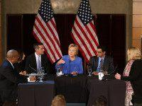 LOS ANGELES, CA - MARCH 24: Democratic presidential candidate former Secretary of State Hillary Clinton (C) speaks during a roundtable discussion at the University of Southern California on March 24, 2016 in Los Angeles, California. In the wake of the terror attacks in Brussels, Hillary Clinton hosted a homeland security …