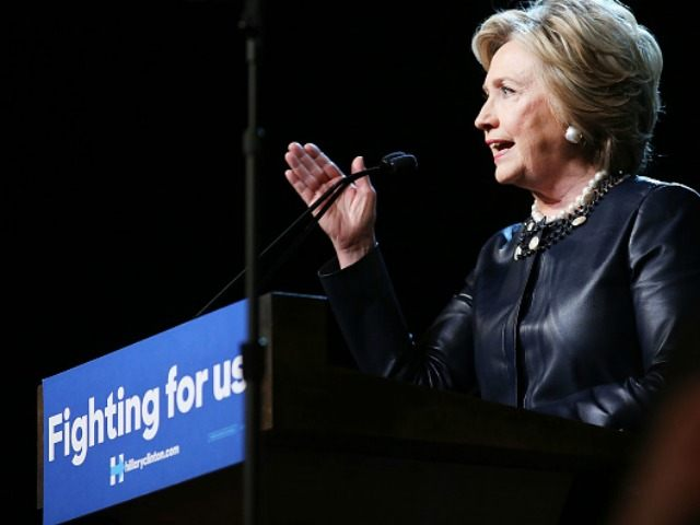 Democratic presidential candidate Hillary Clinton speaks on stage in Harlem at the Apollo Theater on March 30, 2016 in New York City.