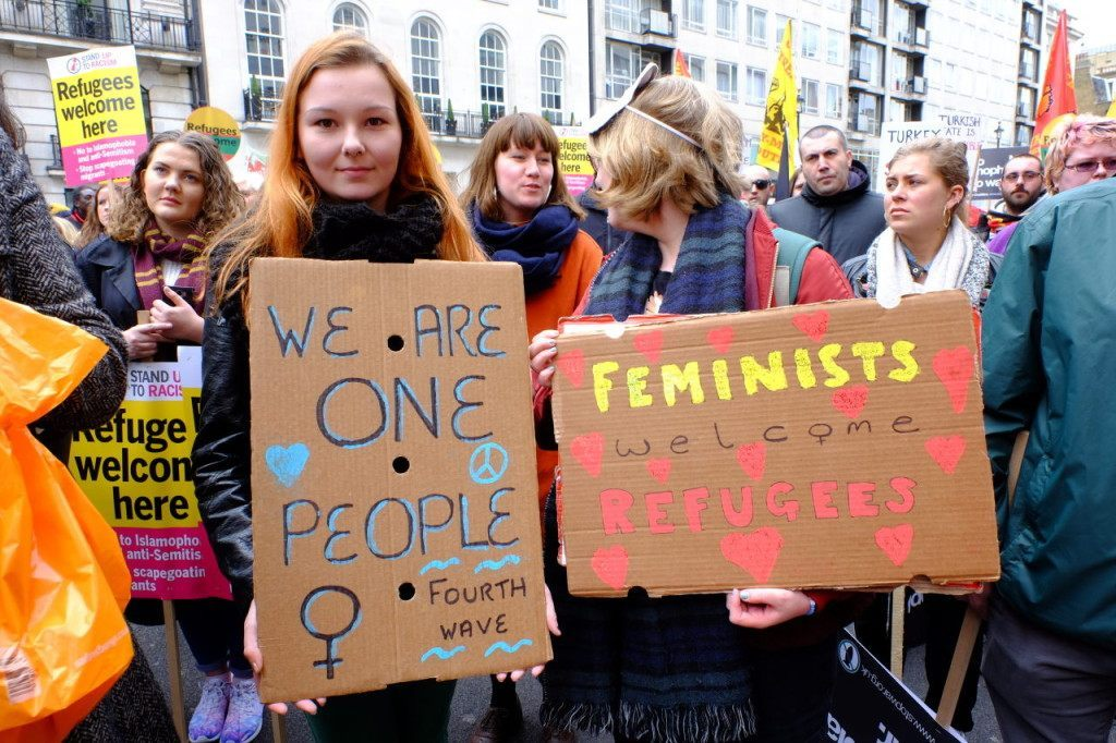 Feminists for open borders. That has not worked so well elsewhere. (Rachel Megawhat/Breitbart London)