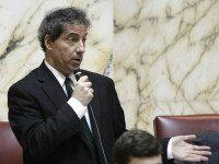 Sen. Jamie Raskin, D-Montgomery, speaks during a debate on possible amendments to a gay marriage bill in Annapolis, Md., Thursday, Feb. 23, 2012. The Senate is expected to vote on the bill Thursday. (AP Photo/Patrick Semansky)