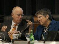 Jerry Brown and Janet Napolitano (Jeff Chiu / Associated Press)