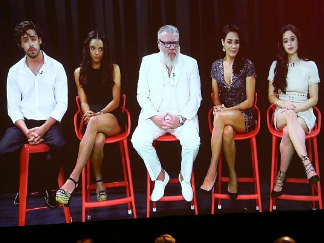ctors Olly Rix, Maisie Richardson-Sellers, Ray Winstone, Simone Kessell and Jeanine Mason speak via video satellite feed displayed onstage during ABC's Of Kings and Prophets panel as part of the ABC Networks portion of the 2016 Television Critics Association Winter Tour at Langham Hotel on January 9, 2016 in Pasadena, California.