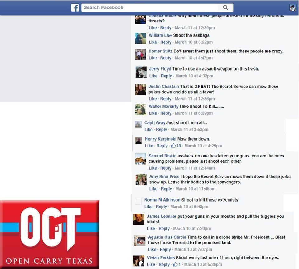 Screenshot from Moms Demand Action Facebook Page via Open Carry Texas