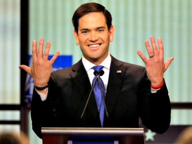 Republican presidential candidate, Sen. Marco Rubio, R-Fla., gestures during a Republican presidential primary debate at Fox Theatre, Thursday, March 3, 2016, in Detroit. (AP Photo/Carlos Osorio)
