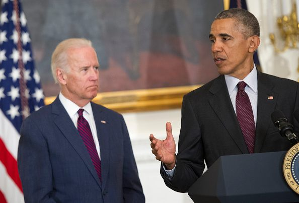 President Barack Obama, joined by Vice President Joe Biden, delivers remarks at the Easter Prayer Breakfast at the White House on March 30, 2016 in Washington.