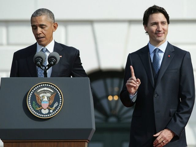 U.S. President Barack Obama speaks about the location of the Stanley Cup as he welcomes Canadian Prime Minister Justin Trudeau during an arrival ceremony on the South Lawn of the White House, March 10, 2016 in Washington, DC.