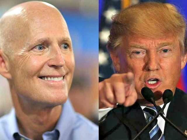 Rick Scott, Donald Trump JOE RAEDLEGETTY