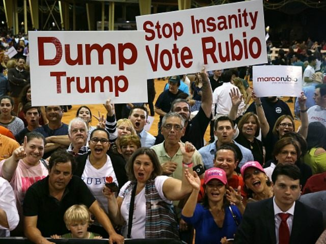 Supporters cheer during a rally for Republican presidential candidate Sen. Marco Rubio (R-FL) at Tropical Park March 1, 2016 in Miami, Florida.