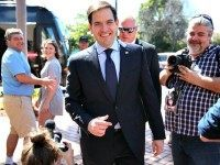 Republican presidential candidate U.S. Sen. Marco Rubio (R-FL) arrives to speak to the media for a press conference at the Temple Beth El to discuss his commitment to stand with Israel on March 11, 2016 in West Palm Beach, Florida.
