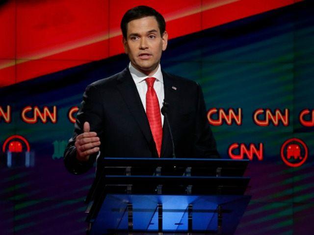 Florida Senator Marco Rubio debates in Miami, March 10, 2016.