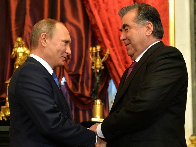 RUSSIAN FEDERATION, Moscow : Russian President Vladimir Putin (L) greets Tajikistan's President Emomali Rahmon ahead of a meeting of the Collective Security Council of the CSTO (Collective Security Treaty Organisation) at the Kremlin in Moscow on December 21, 2015. AFP PHOTO / SPUTNIK / ALEXEI DRUZHININ