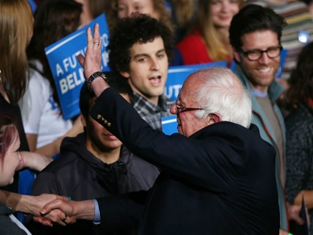 Democratic presidential candidate, Sen. Bernie Sanders (D-VT) greets supporters after winning the Vermont primary on Super Tuesday on March 1, 2016 in Essex Junction, Vermont.