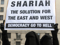 Muslim protestors demonstrate in Whitehall London
