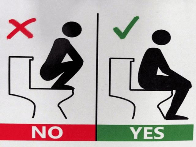 Bathroom Signs German no squatting or using toilet floor, top university tells