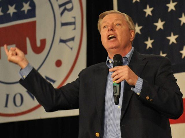 : Republican presidential candidate Sen. Lindsey Graham (R-SC) speaks at the Growth and Opportunity Party, at the Iowa State Fair October 31, 2015 in Des Moines, Iowa.