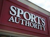 Sports Authority sign is seen on a store as the company files for Chapter 11 bankrupty on March 2, 2016 in Miami, Florida.