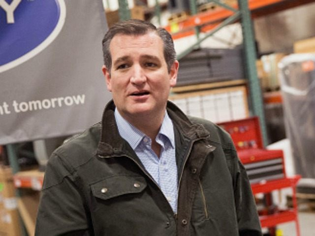 Republican presidential candidate Sen. Ted Cruz (R-TX) speaks to the press before during a campaign stop at Dane Manufacturing on March 24, 2016 in Dane, Wisconsin.