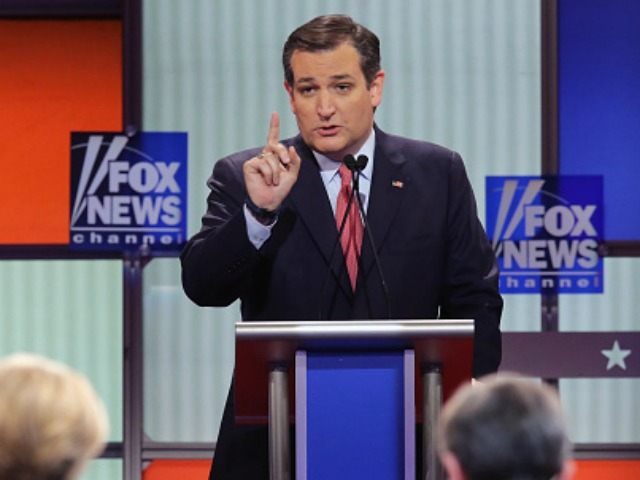 Republican presidential candidate Sen. Ted Cruz (R-TX) participates in a debate sponsored by Fox News at the Fox Theatre on March 3, 2016 in Detroit, Michigan.