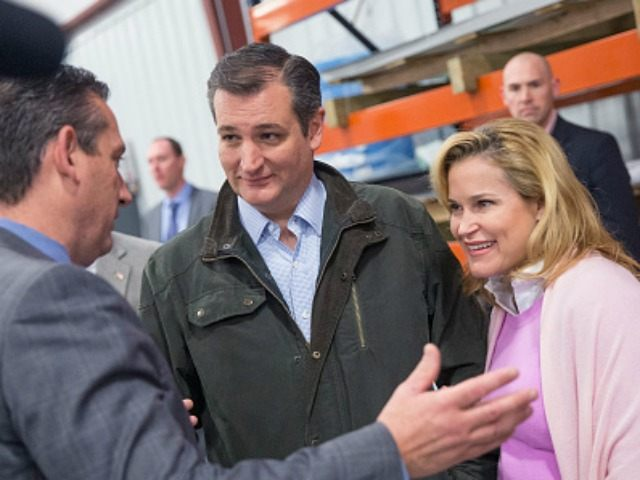 Troy Berg gives a tour of Dane Manufacturing to Republican presidential candidate Sen. Ted Cruz (R-TX) and his wife Heidi on March 24, 2016 in Dane, Wisconsin.