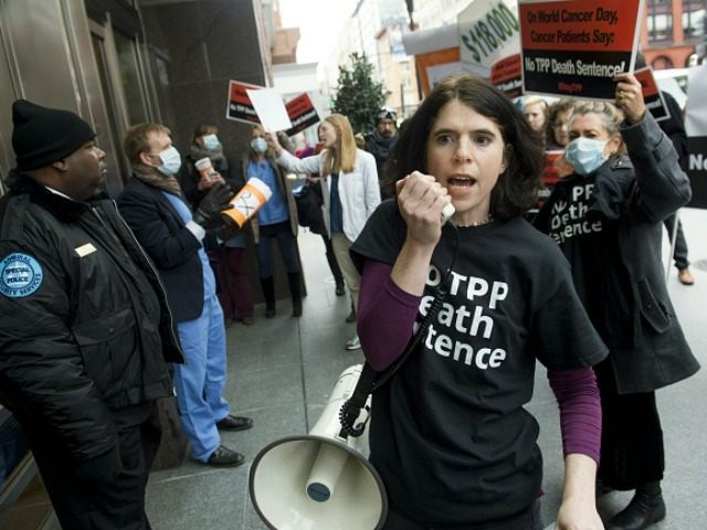 Cancer patients and survivors, health professionals and others protest the Trans-Pacific Partnership (TPP) trade deal outside of PhRMA, the Pharmaceutical Research and Manufacturers of America, in Washington, DC, February 4, 2016. Cancer patients and survivors, health professionals and others demonstrated outside the trade group's offices against the TPP, which they …