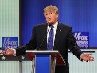 Republican presidential candidate Donald Trump participates in a debate sponsored by Fox News at the Fox Theatre on March 3, 2016 in Detroit, Michigan.