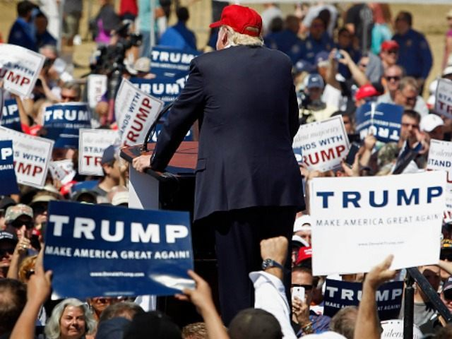 Republican presidential candidate Donald Trump speaks to guest gathered at Fountain Park during a campaign rally on March 19, 2016 in Fountain Hills, Arizona. Trump visits Arizona for the second time in three months as he looks to gain the GOP nomination for President. (Photo by