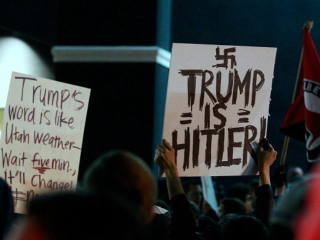 Several hundred anti-Trump protesters gather outside the Infinity Event Center where Republican presidential candidate Donald Trump was to speak at a campaign rally on March 18, 2016 in Salt Lake City, Utah.