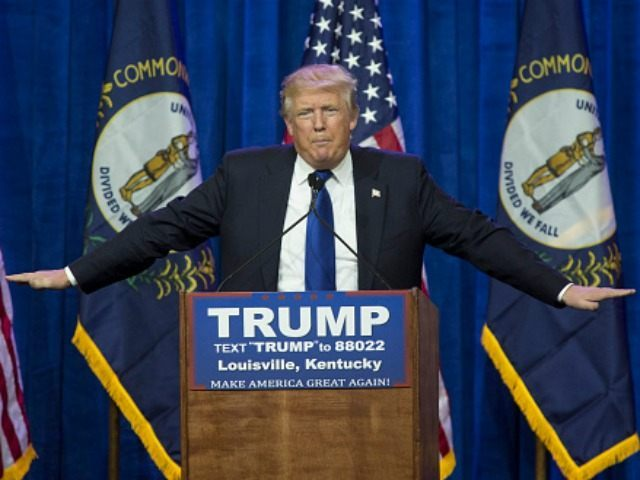 Republican presidential candidate Donald Trump speaks at the Kentucky International Convention Center March 1, 2016 in Louisville, Kentucky.