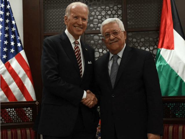 US Vice Presicent Joe Biden (R) and Palestinian president Mahmud Abbas following a meeting at the presidential compound in the city of Ramallah, in the West Bank, on March 9, 2016