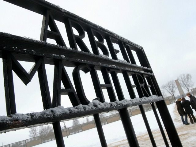 A view of the gates with the famous inscription 'Arbeit Macht Frei' (Freedom Through Work) leading into Sachsenhausen Concentration Camp on January 25, 2005, near Berlin, German. Built in 1936, Sachsenhausen Concentration Camp was intended for large intake of wartime prisoners.