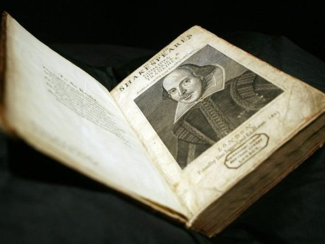 A rare First Folio edition of William Shakespeares' plays (1623) pictured at Sotheby's auction house in London, on March 20, 2006