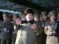 North Korean leader Kim Jong-Un (C) attends the KPA tank crew competition