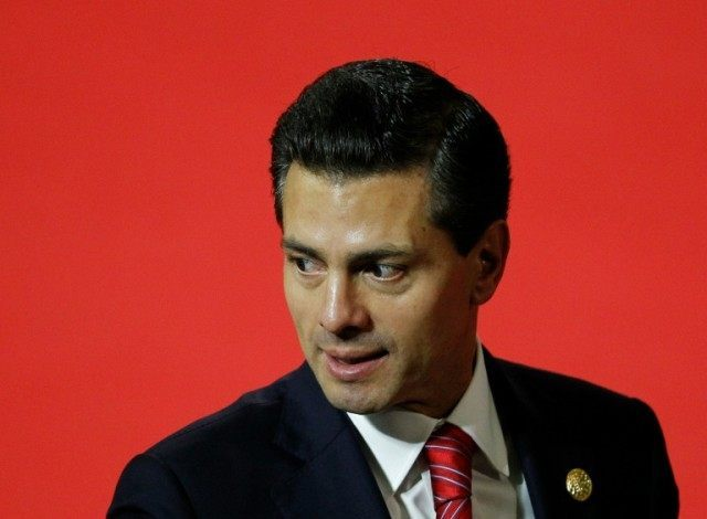 "Mexican President Enrique Pena Nieto, pictured November 18, 2015, said he would seek a ""constructive dialogue"" with whoever is elected the next US president on November 8"